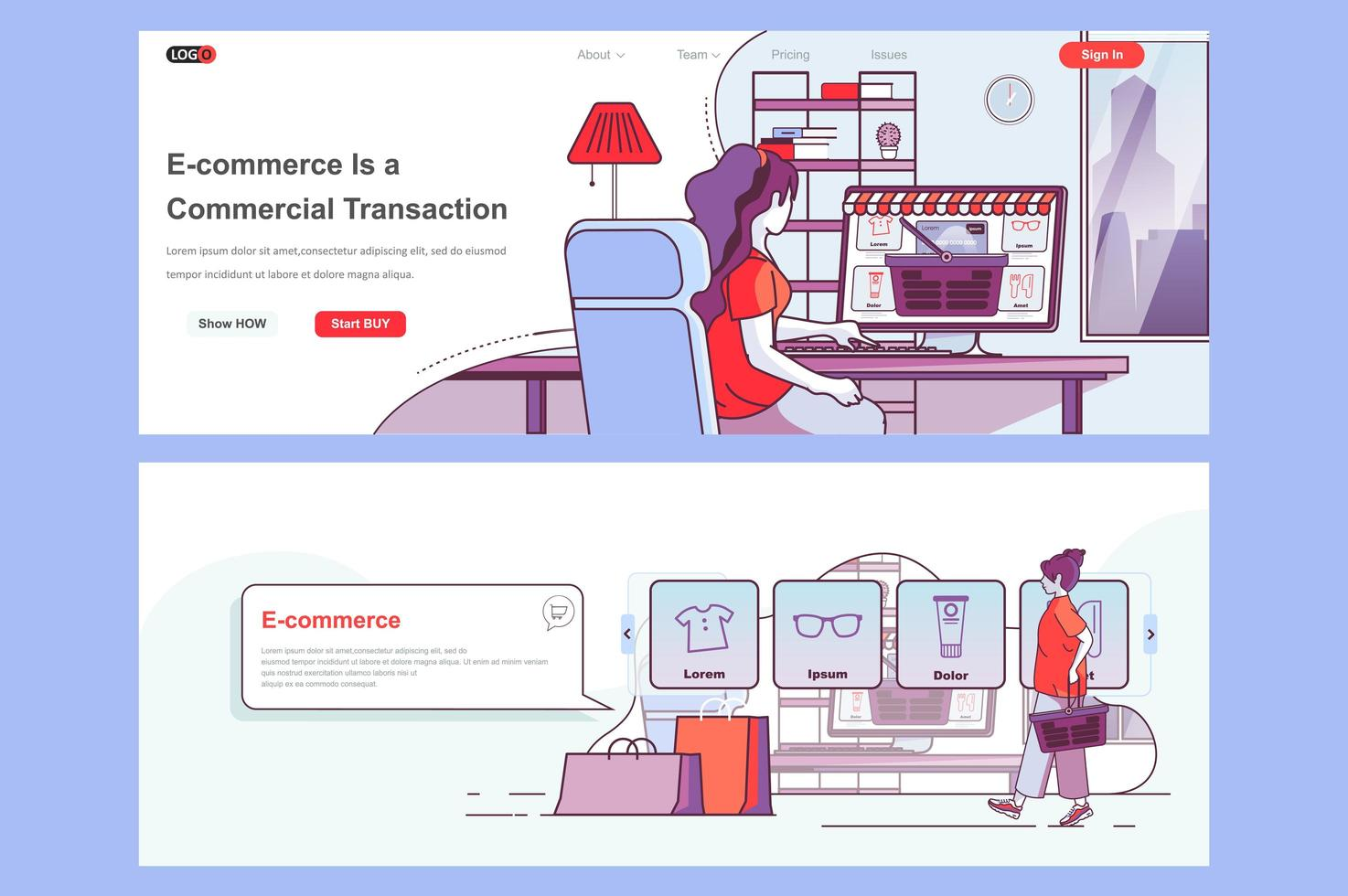 ensemble de pages de destination e-commerce vecteur