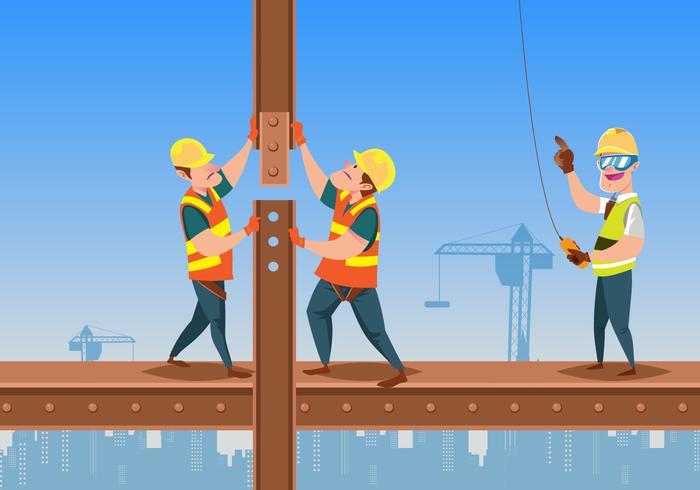 Travailleurs de la construction debout sur une poutre vecteur