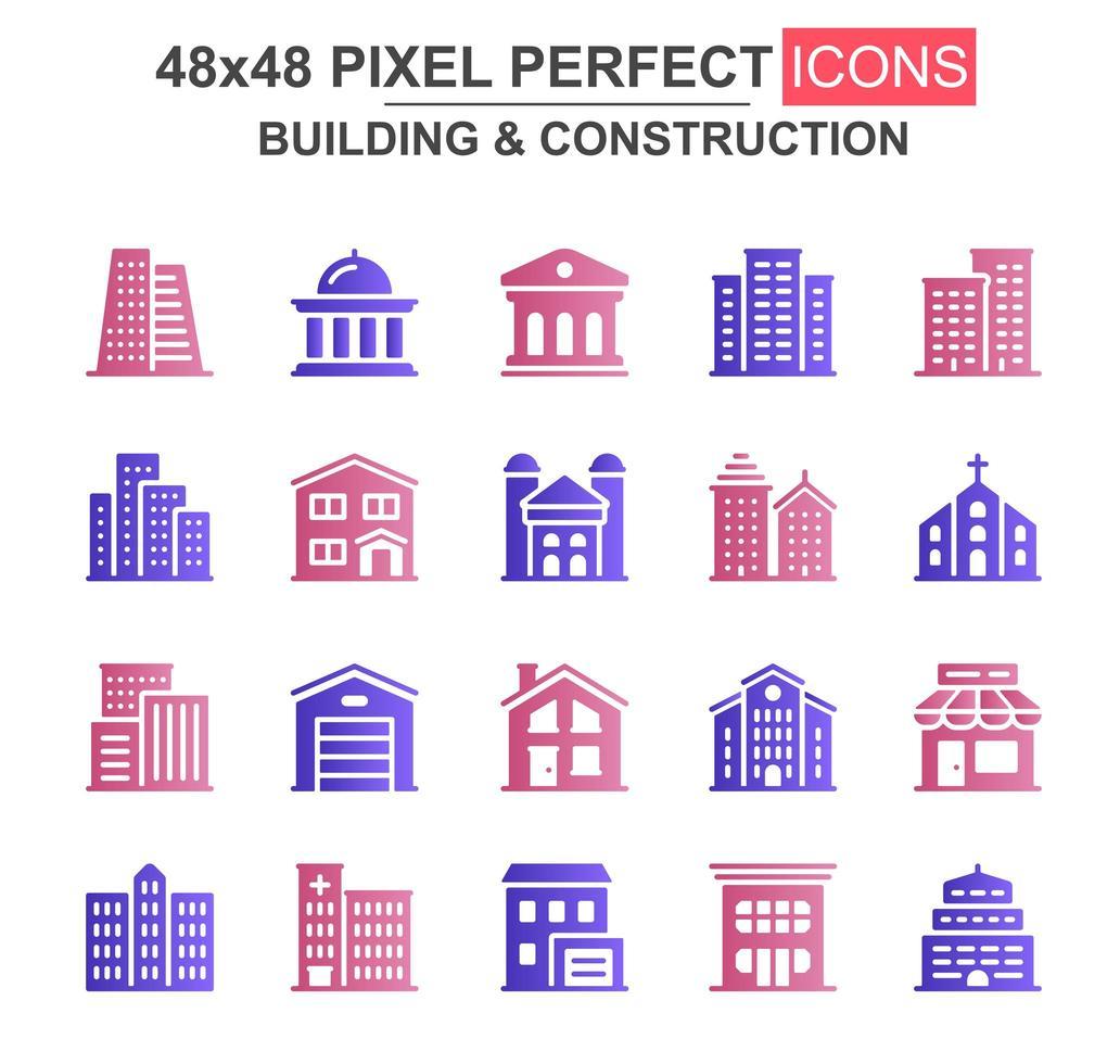 jeu d'icônes de glyphe de construction et de construction vecteur