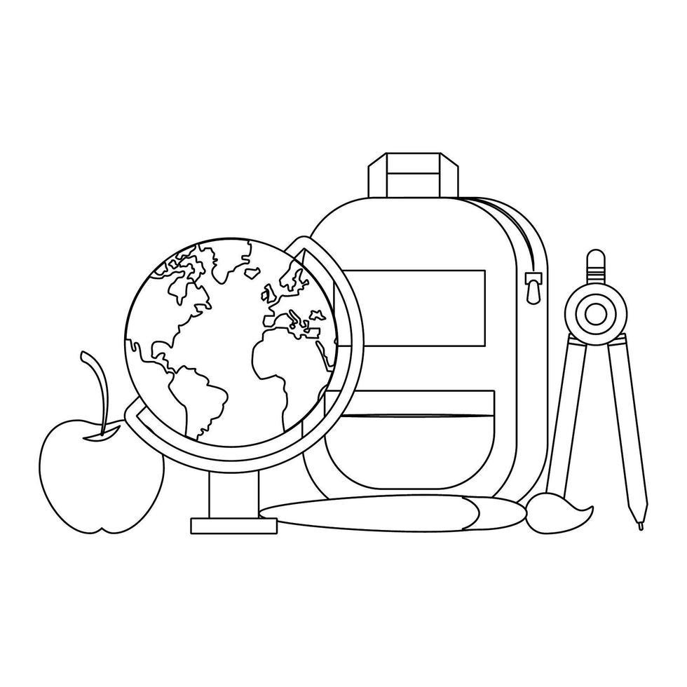 retour aux dessins animés d & # 39; ustensiles d & # 39; école en noir et blanc vecteur