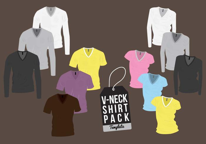 V-neck shirt template vector