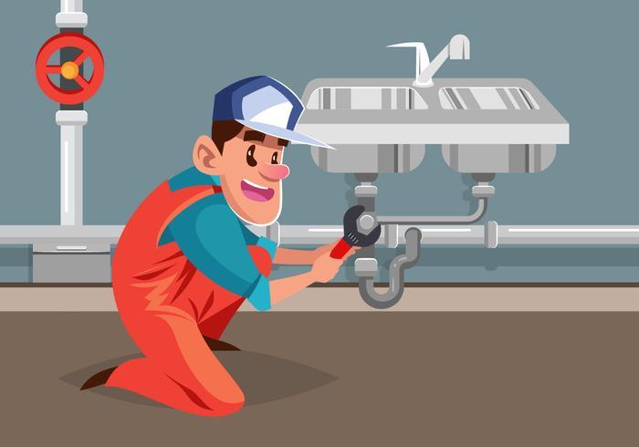 Tradesman Fixation de plombier vecteur