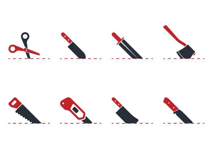 Icône de coupe avec des lignes vecteur