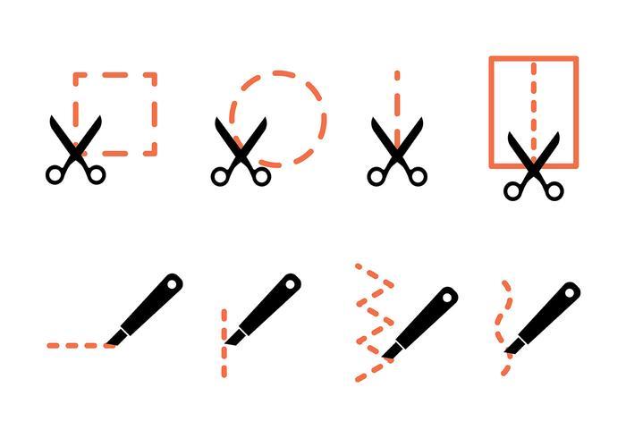 Couper ici les icônes vectorielles vecteur