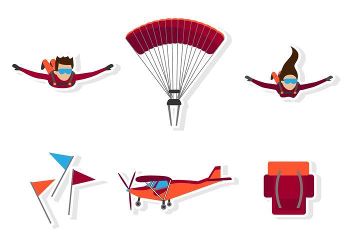 Icône de parachutisme plat vecteur