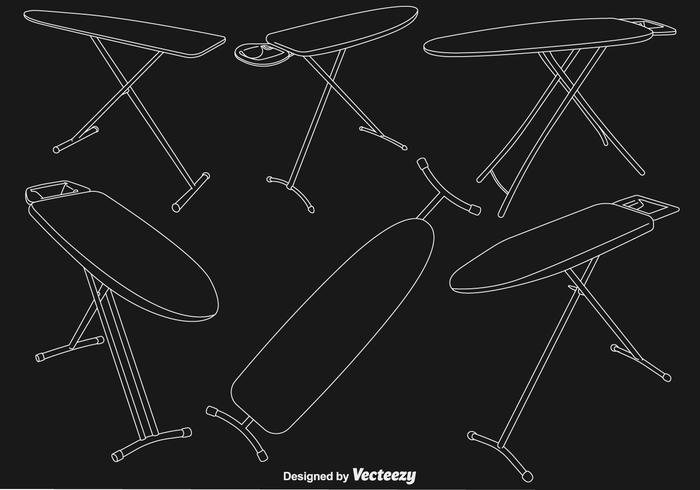 Vector ironing table line icons