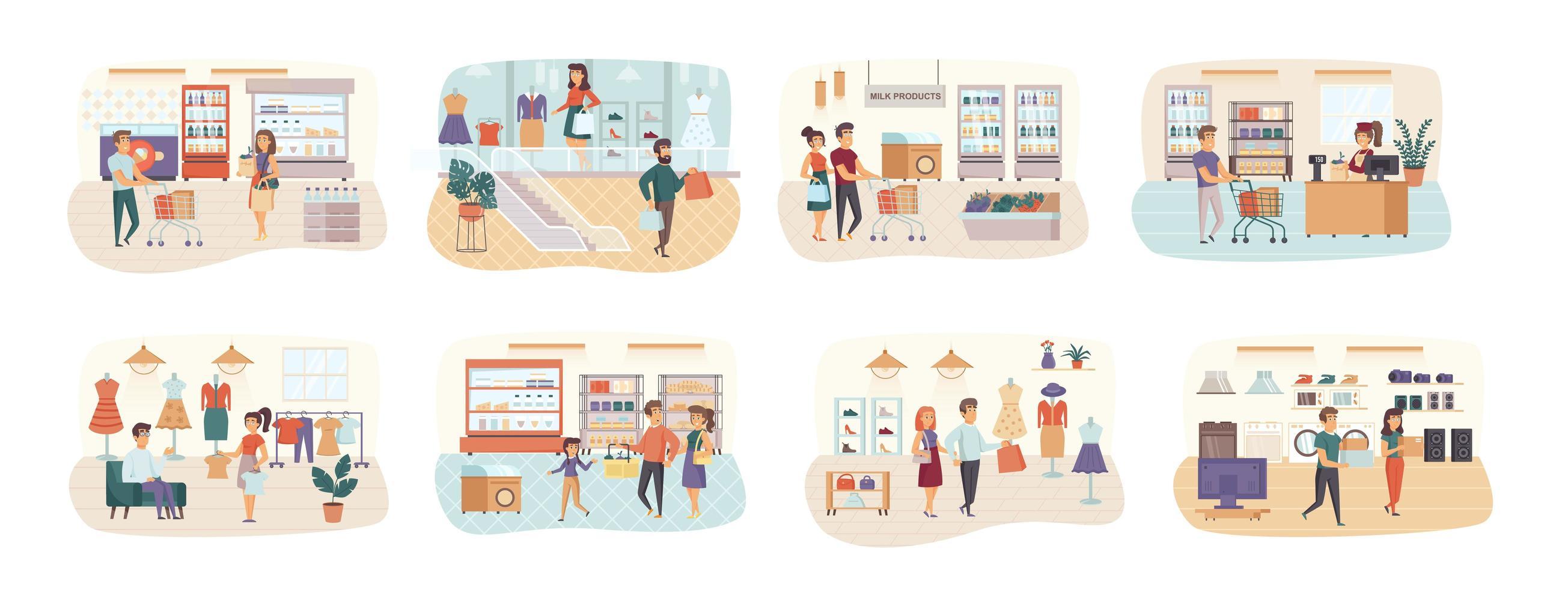 shopping bundle de scènes avec des personnages plats vecteur