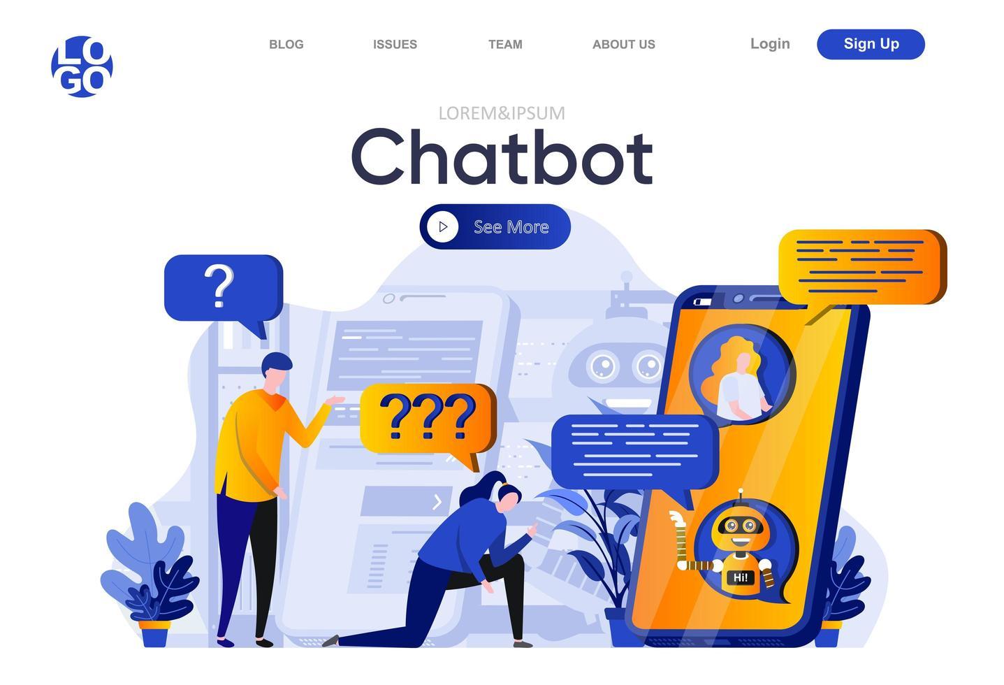 page de destination plate du chatbot vecteur