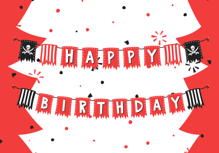 Birthday Pirate Banner Illustration Vectorisée Gratuite vecteur