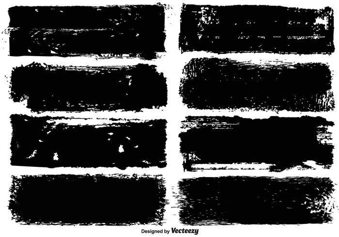 Bannières de peinture grunge noir vecteur