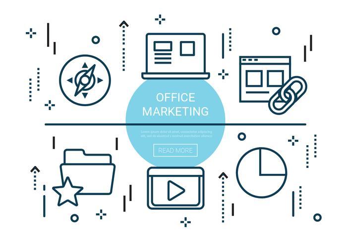 Éléments gratuits de marketing de bureau linéaire vecteur