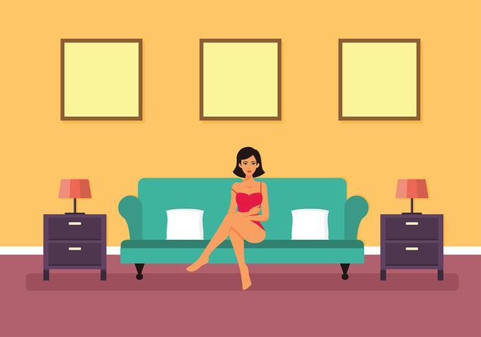 Femme se prélassant dans un vecteur bustier rose