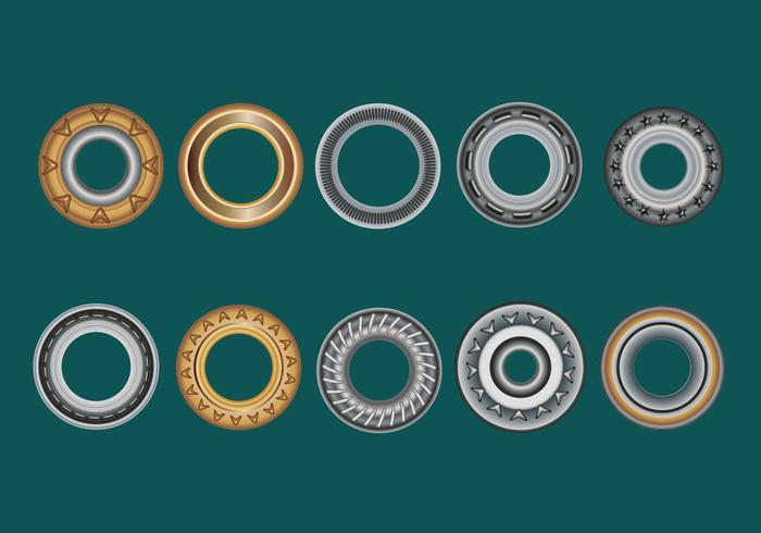Définir des oeillets, une rondelle plate et des oeillets sur un fond vert vecteur
