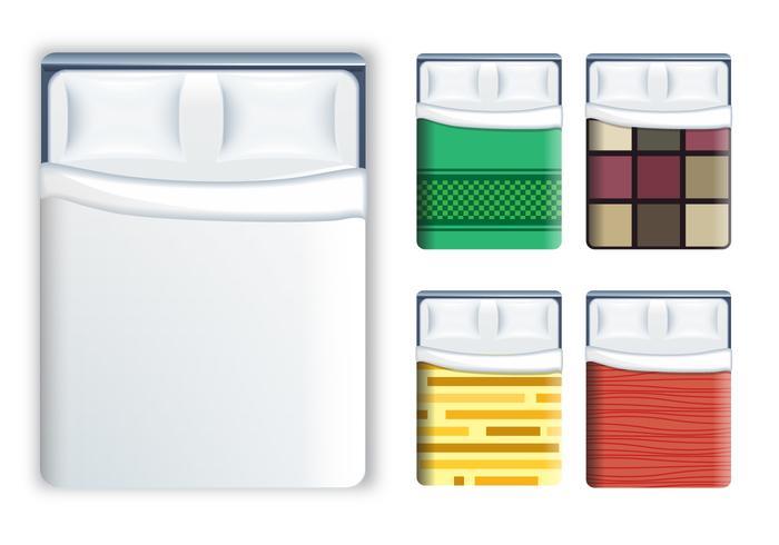 Lits réalistes et ensemble de vaisselle vecteur