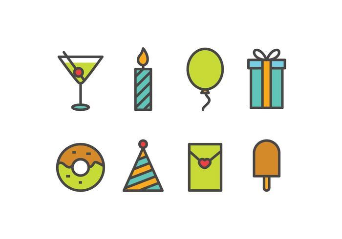 Set d'icônes de fête vecteur
