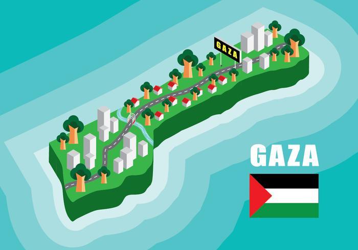 Carte isométrique de Gaza vecteur