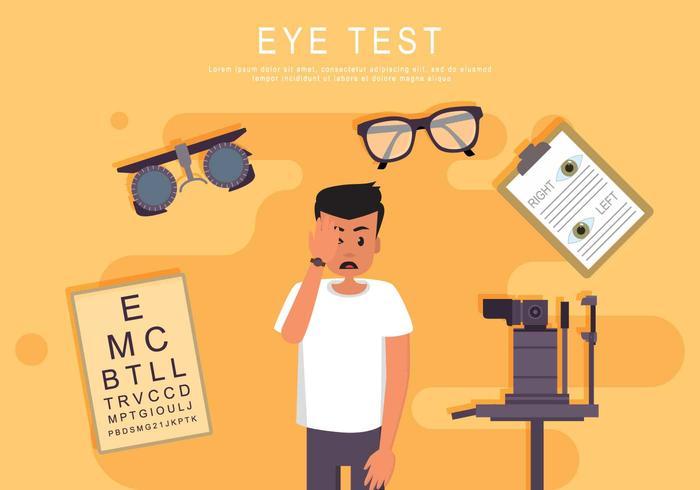 Test d'oeil avec l'illustration de la machine à vérifier les yeux vecteur