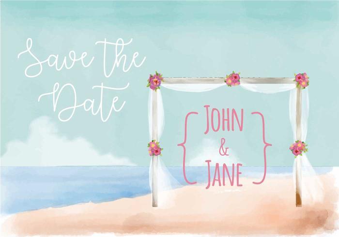 Invitation de mariage de plage vecteur aquarelle