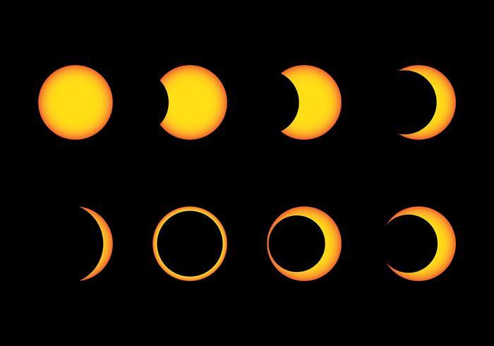 Icônes de vecteur d'éclipse solaire
