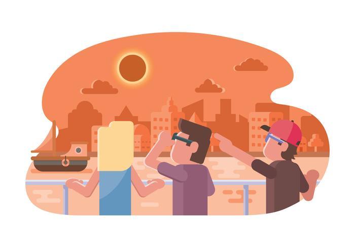 Les gens regardent l'illustration de l'éclipse solaire vecteur