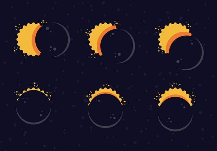 Bande dessinée éclipse solaire gratuite vecteur
