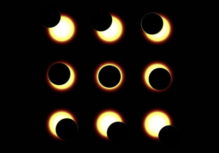Illustration de l'éclipse du soleil vecteur