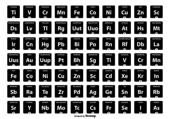 Collection périodique de l'icône de la table des éléments vecteur