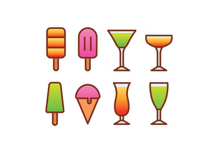 Ensemble d'icônes Ice Cream et Cocktail vecteur