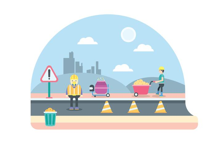 Illustration du travailleur routier vecteur