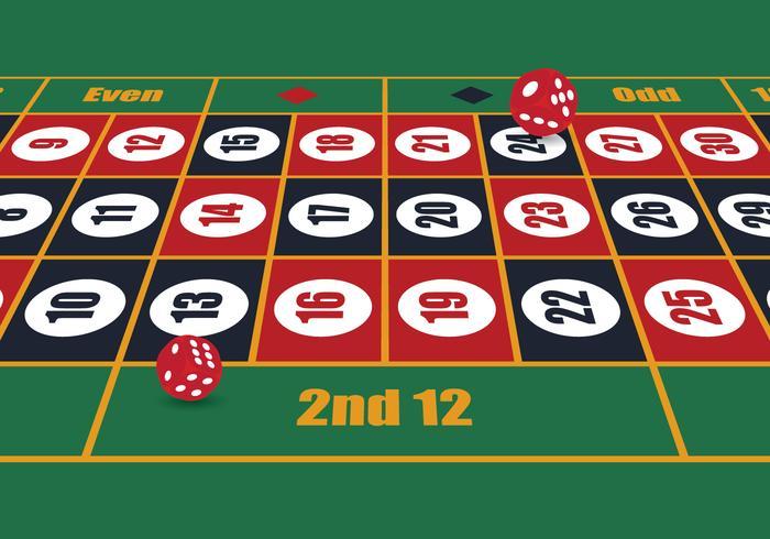 Perspective de table de roulette vecteur