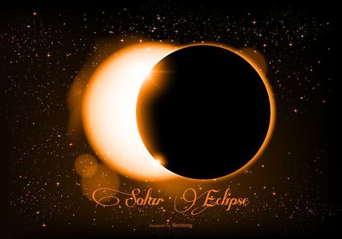 Belle illustration réaliste d'éclipse solaire vecteur