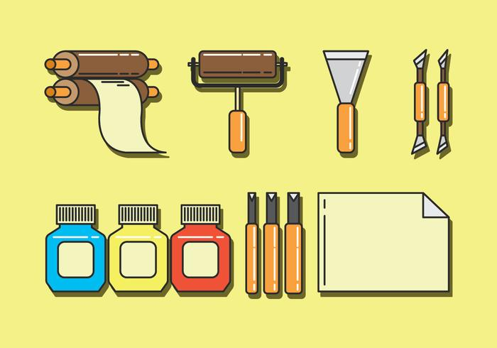 Ensemble d'icônes de vecteur de lithographie
