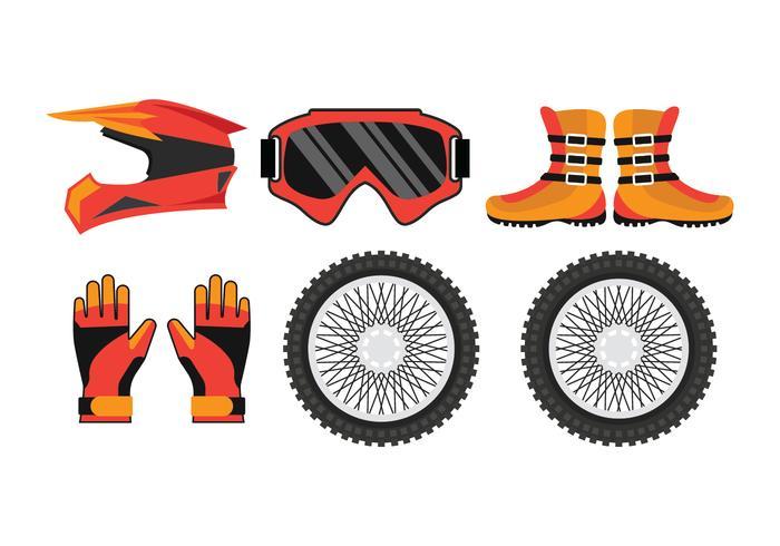Pack d'accessoires pour motocross vecteur