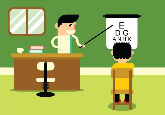 Test d'oeil dans le bureau de docteur vecteur
