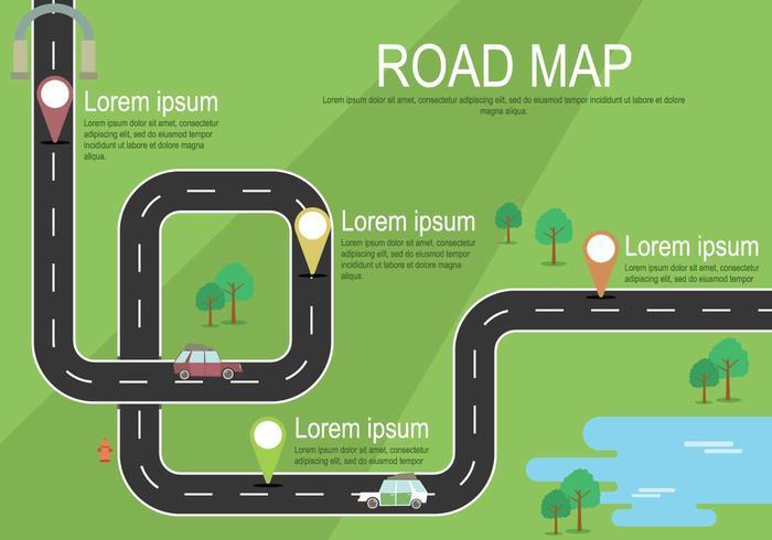 Carte routière gratuite avec illustration des marqueurs vecteur