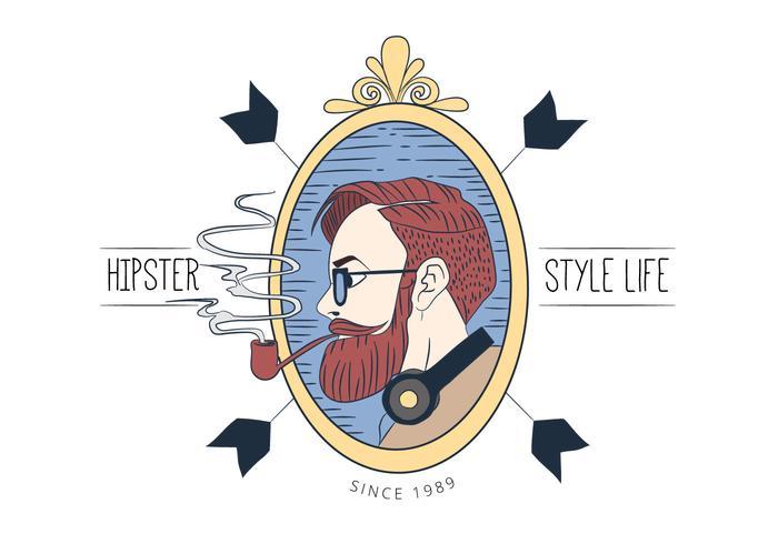 Homme hipster à la longue barbe fumant avec des lunettes avec des rubans vecteur