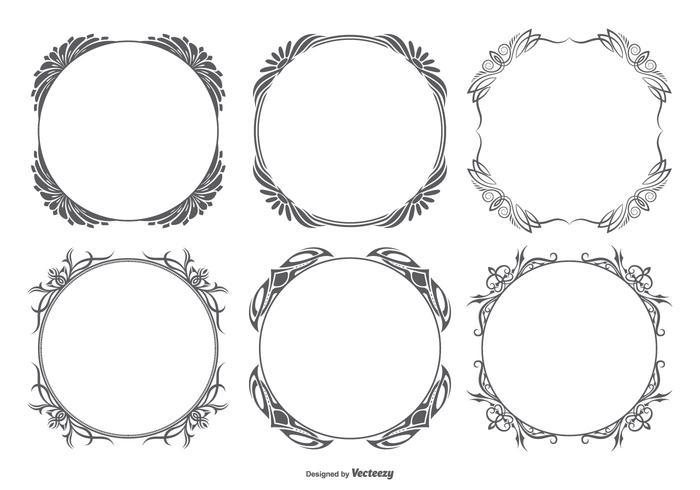 Collection de cadres vectoriels décoratifs vecteur