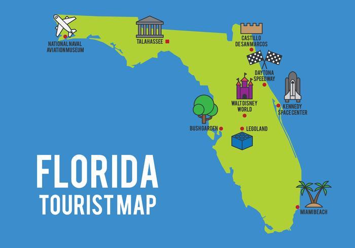 Carte de bande dessinée de l'état de Floride vecteur