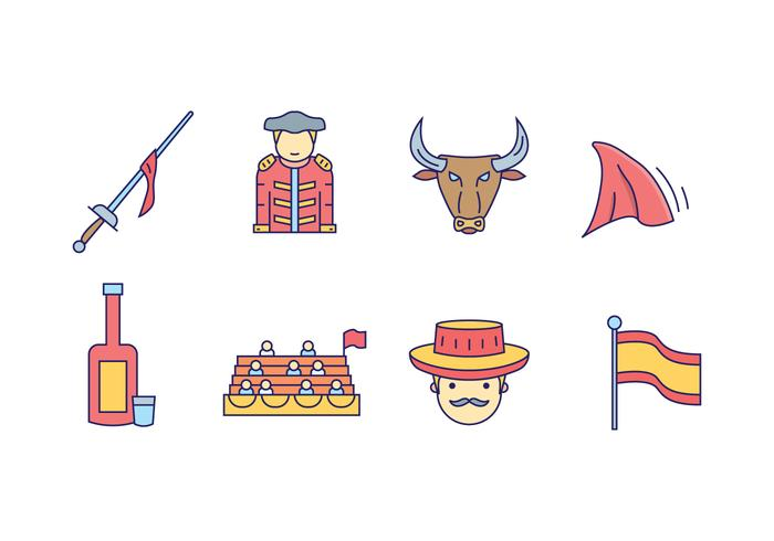 Icônes de lutteur de taureaux vecteur