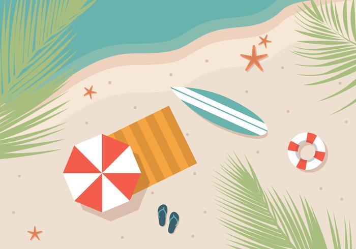 Plage d'été de planche de surf vecteur