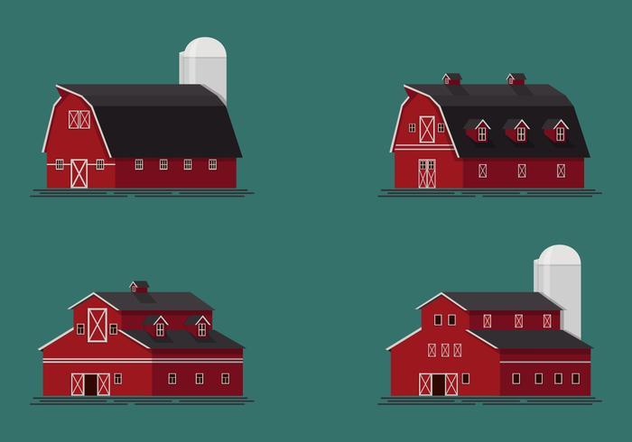 Ensemble d'illustration vectorielle Red Barn vecteur