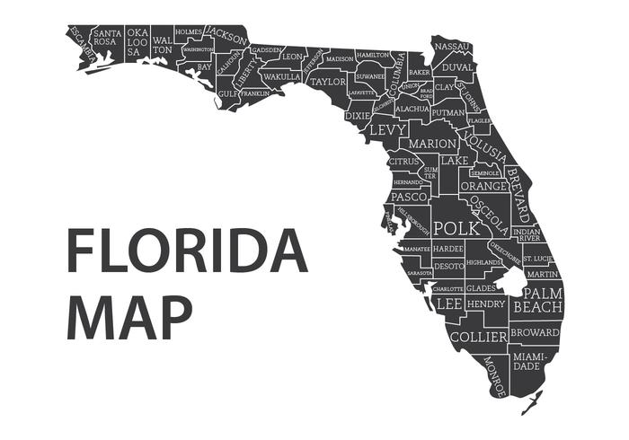 Carte de la Floride avec le vecteur des comtés