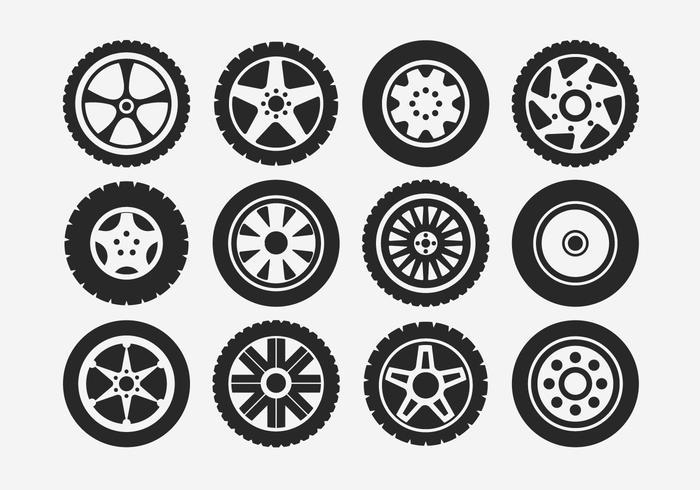 Ensemble d'icônes de pneu et de roue Hubcap vecteur