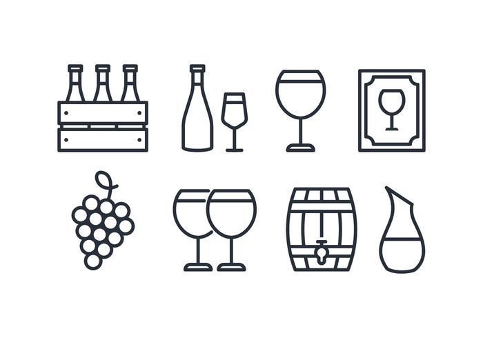 Paquet d'icônes de vin vecteur