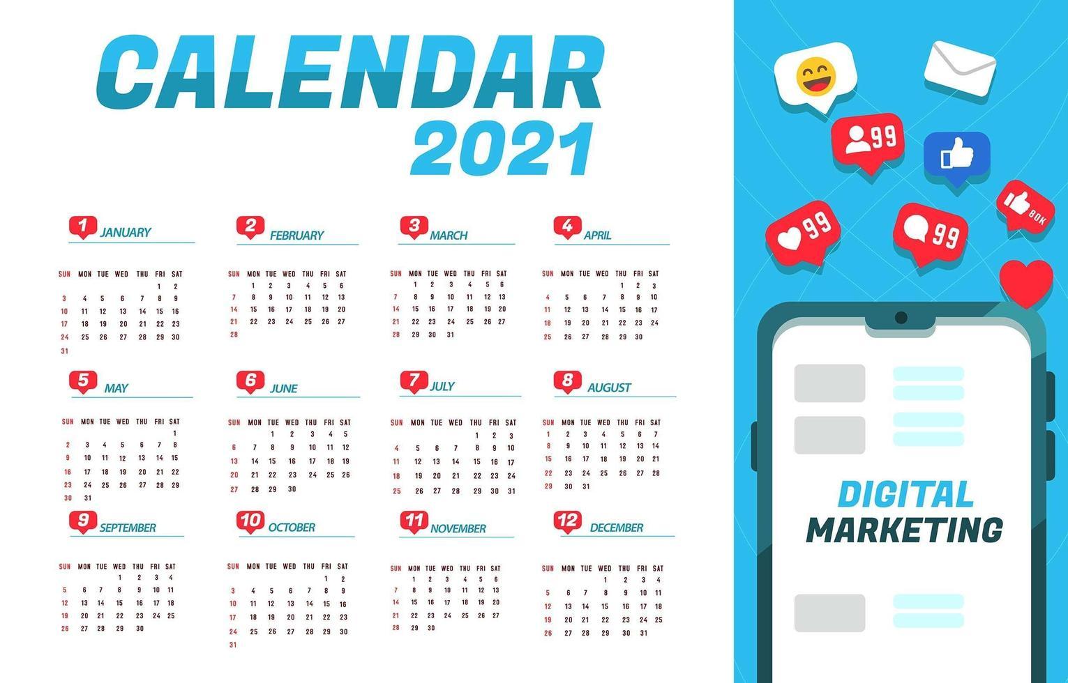 notifications pour le calendrier de marketing numérique 2021