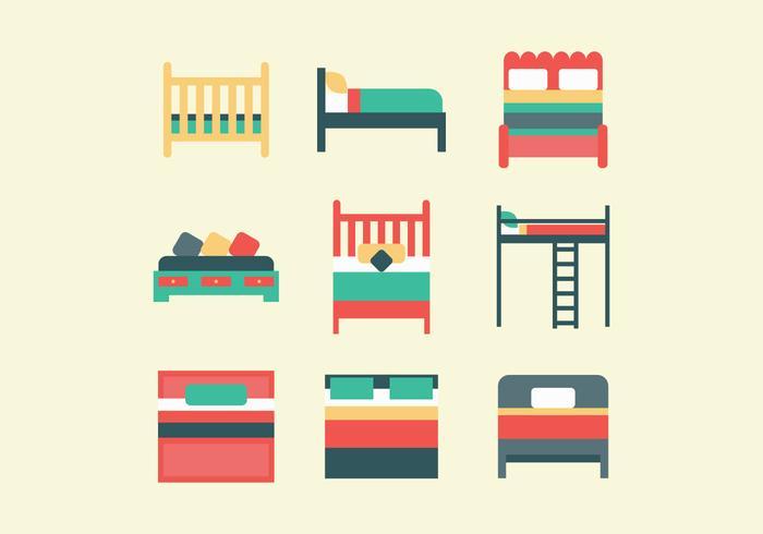 Ensemble coloré de lits vecteur
