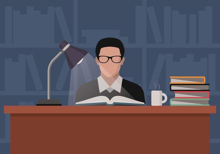 Étudiant au lecteur de livres étudiant dans le vecteur de la bibliothèque