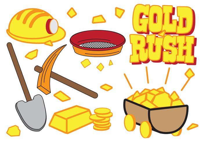 Ensemble d'icônes Gold Rush vecteur