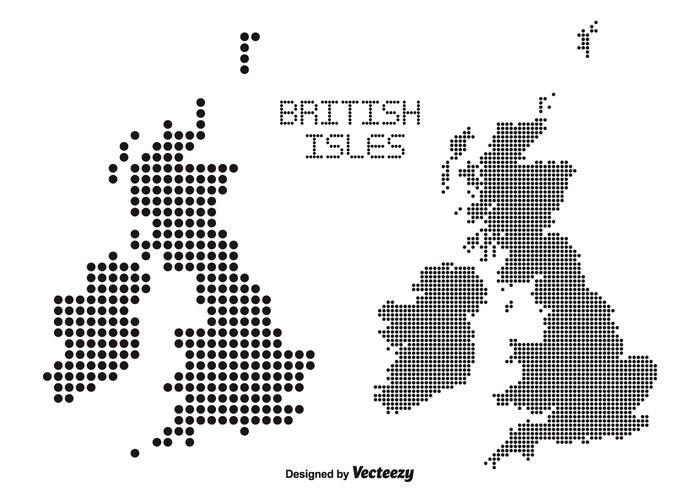 Cartes vectorielles pointillées des îles britanniques vecteur