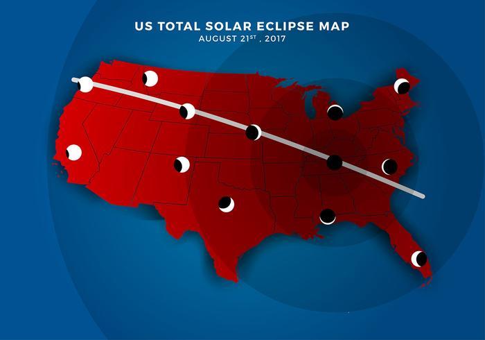 Nous carte d'itinéraire d'éclipse solaire totale vecteur gratuit